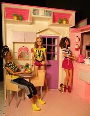 Having lunch with friends (flores272) Tags: barbie barbiefurniture barbiedoll barbiehouse foldupbarbiehouse barbieclothing aabarbie blackdoll blackbarbie christmas 1996barbiefoldoutcarrydollhouse 1996barbiehouse pinkbarbiehouse