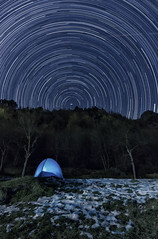 Star-trails Boussoney (Alessandro Vallainc) Tags: lowligth blend tent night longexposure magic eos550d tripod magiclantern canon starstax sky polaris stars samyang 14mm wideangle dark trails