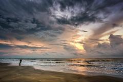 Start the day fishing (adamkylejackson) Tags: beach beaches ocean gulf gulfofmexico houston texas galveston fishing sunrise dawn morning waves shoreline coastline landscape horizon