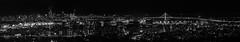 megalopolitan panorama (pbo31) Tags: oakland eastbay alamedacounty dark black night nikon d810 boury pbo31 january 2017 winter urban blackandwhite panoramic large stitched panorama over view skyline city sanfrancisco baybridge easternspan sas 80 bridge silhouette lincolnhighlands