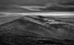 Fog on the Hills (cliveg004) Tags: malvernhills worcestershirebeacon herefordshirebeacon worcestershire herefordshire gloucestershire malvern severnvalley riversevern dogs walkers fog mist hills countryside rural overcast clouds outdoor nikon d5200 mono monochrome bw blackandwhite