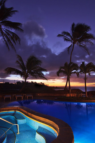 Oceanfront Swimming Pool at Dusk