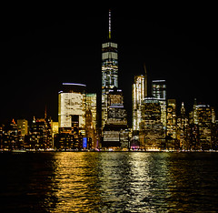 One World Trade Center at Night New York City NY (mbell1975) Tags: jerseycity newjersey unitedstates us one world trade center night new york city ny evening nights citylights lights skyline skyscraper skyscrapers office buildings building hudson river water wtc reflections reflection newyork nyc manhattan usa america american oneworldtradecenter