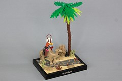 Summons for the Loyal (jsnyder002) Tags: lego moc desert kaliphlin landscape path sand stone cobblestone palm tree bush plant camel messenger