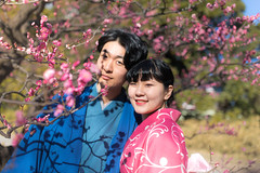 Portrait of young Kimono couple with plum blossoms (Apricot Cafe) Tags: img15877 20s asia asianethnicity japan japaneseethnicity kimono koreanethnicity multiethnicity sigma35mmf14dghsmart tokyo beautiful charming cheerful communication couple enjoying flowers friendly international men plumtrees plun standing togetherness traditionalcloth trees twopeople walking women youngadult chūōku tōkyōto jp