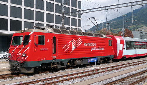Matterhorn Gotthard Bahn, Switzerland - HGe4/4-II No. 2 built in 1985 at Brig Station with the Glacier Express on the 17th September 2016