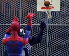 Game! (Popcornboy20) Tags: street sports basketball comics action spiderman finals marvel nba figures select venom streetball