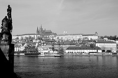St. Vitus's Cathedral and Prague Castle (oxfordblues84) Tags: sky blackandwhite bw water architecture buildings river europe prague cathedral praha czechrepublic praguecastle vltavariver stvitusscathedral 5photosaday