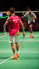 Lee Chong Wei Serving to Rajiv Ouseph (KW0326) Tags: county new york england college island gold us suffolk community long open grand prix lee malaysia ms brentwood wei chong badminton rajiv qf bwf 2015 ouseph usopen2015yonexusopen