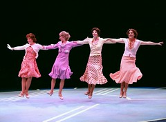 "Left to right:  Kim Arnett as Anytime Annie, Melissa Lone as Peggy Sawyer, Lisa Rohinsky as Lorraine and Sarah Marie Jenkins as Phyllis in the 2010 Music Circus production of ""42nd Street"" at the Wells Fargo Pavilion August 24-29.  Photo by Charr Crail."