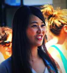 Happy (knightbefore_99) Tags: street party sun hot girl smile car vancouver asian day teeth free sunny ombre shade commercialdrive eastvan italianday