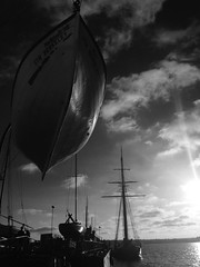 204/365 {Explored 7/29/2015} (moke076) Tags: 365 365project project365 oneaday photoaday vsco vscocam cell cellphone iphone mobile 2015 socal san diego california bw maritime museum boats old antique clipper ship rowboat sunset sky clouds water harbor explore explored flickr sandiego