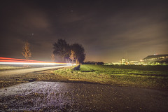 Lighttrails at Night (apsis22) Tags: langzeitbelichtung nightsky lighttrails trees industrial