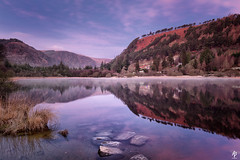Daybreak at the Lower Lake. (fearghal breathnach) Tags: glendalough wicklow greatoutdoors daybreak sunrise clouds cloudsstormssunsetssunrises reflection reflections winter ireland lake water landscape polarizer haida leefilters longexposure calm goldenhour mist fog forest