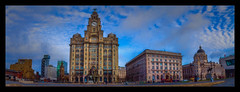 The Three Graces (Kevin, from Manchester) Tags: albertdock architecture building canon1100d canon1855mm clouds cunardbuilding echoarena england gradeilistedbuilding hdr historical kevinwalker liverbirds liverbuilding liverpoolsthreegraces merseyside northwest outdoor panorama panoramic pierhead portofliverpoolbuilding rivermersey royalliverbuilding thewheel wallart waterfront waterways
