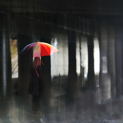 Halls of Darkness (Lemon~art) Tags: umbrella dark light woman colour manipulation