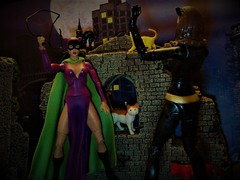Winter Reruns: Cat Fight! In Color! (Toyz in the attic) Tags: catwoman catfight silverage batman batmanlegacy 1966 julienewmar mattel dc dcuc
