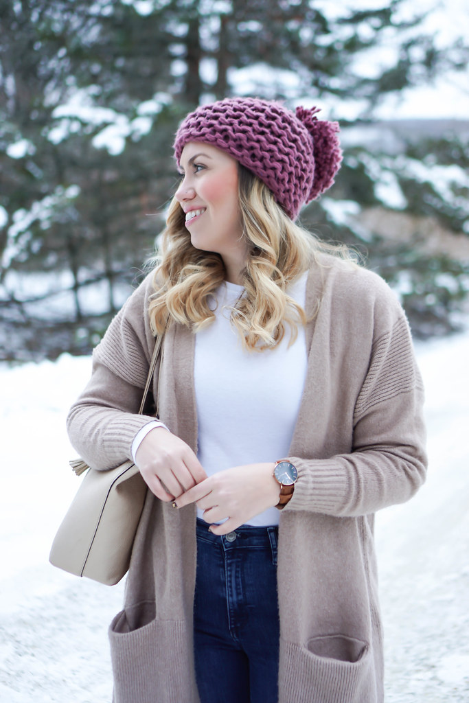 25e6f4ccaeb3e7 Casual Winter Pastel Outfit   Pink Pom Pom Beanie ASOS Camel Oversized  Sweater Gap High Waisted