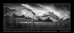 Hector Lake along Icefields Parkway with Pulpit Peak and Mt. Balfour, Banff National Park, Alberta (kgogrady) Tags: banffnationalpark hectorlake icefieldsparkway landscape mtbalfour pulpitpeak waputikrange winter alberta canada acros 2017 blackandwhite canadianlandscapes blackwhite canadianrockies albertalakes afternoon bw albertalandscapes canadianmountains ab canadianlakes canadiannationalparks canadianrockieslanscape westerncanada xf18135mmf3556oiswr cans2s fujifilm fujifilmxt2 fujinon clouds xt2 highway93 parkscanada panorama mountains nopeople noone pano mountainlakes
