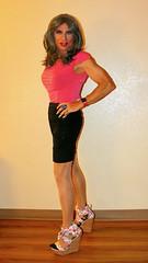 Cortney - Pewter Hair and Hot Pink Top (Cortney10100) Tags: tg tgirl tgurl transgender heels highheels femme tranny trannie transsexual transvestite crossdress crossdresser stilettos cortney pewter pink skirt