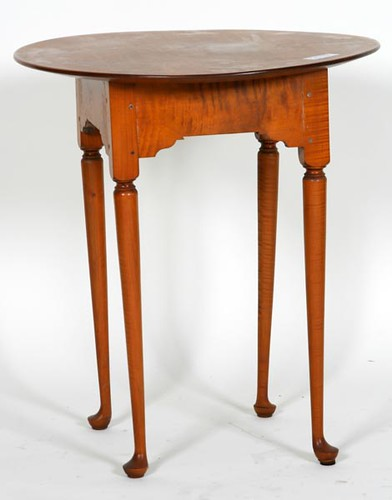 Bench made New England Tiger Maple Oval Tea Table by Jeffrey Greene, Master Woodworker ($364.00)