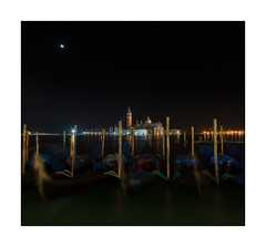 Looking across from San Marco Venice (Peter & Olga) Tags: 2016 christmaseve d810 olgabaldock venice aroundthecanals nightphotography gondolas movement moon harbour lights