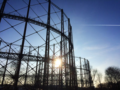 (ellievking1) Tags: glasgow scotland anniesland forthandclydecanal canal postindustrial urbandecay gasholder silhouette sunset