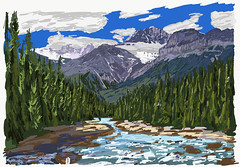 My Drawings - Banff National Park Mistaya River (thor_mark ) Tags: banffnationalpark blueskieswithclouds canadianrockies day5 epaulettemountain glacier highway93 icefieldsparkway kaufmannpeaks lookingssw mistayacanyon mistayariver mountsarbach mountains mountainsindistance mountainsoffindistance nature rapids river trees outdoor landscape ipaddrawing digitalpainting adobedraw adobeillustratordraw ipad artdigital outside rockymountains evergreens hillsideoftrees hillsideofrocksandboulders boulders largerocks riverbank alongbanksofmistayariver snowcapped mountainvalley travelingicefieldsparkway travelingtheicefieldsparkway walktomistayacanyon centralmainranges waputikmountains northwaputikmountains christianpeak hanspeak mistayacanyonarea alberta canada