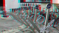 Wilhelminaplein Rotterdam 3D (wim hoppenbrouwers) Tags: wilhelminaplein rotterdam 3d anaglyph stereo redcyan bikes stands fiets stalling metrostation