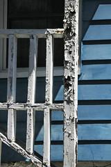 Railing Grid (lefeber) Tags: house newyork window architecture rural town shadows village angles porch worn railing peelingpaint ruraldecay smalltown hudsonvalley highlandfalls