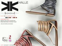 Halle :: Woman :: 10  Colors ({kokoia}) Tags: summer woman shoes flat mesh sandals sl halle belleza tmp maitreya slink secondlfie kokoia themeshproject