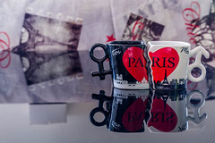 souvenir cups of Paris in love (pulp.gae8) Tags: city travel stilllife white black paris tower love cup coffee architecture breakfast french landscape europe cityscape drink background capital indoor landmark eiffel architectural souvenir inside latte