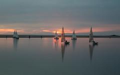Sunset Sailing (David Chennell - DavidC.Photography) Tags: wirral merseyside boats sunset twilight dusk lake beautiful serene idyllic tranquil