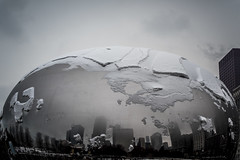 After a heavy snow fall Bean  - December 17, 2016 (Flipped Out) Tags: chicago millenniumpark cloudgate thebean mercuryrising