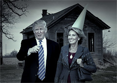 """This is not a party hat, boys and girls."" (PhotoAtelier) Tags: satire trump fascism parody betsydevos devos secretaryofeducation protest education dystopia"