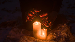 ritual ceremony (Moonpollution) Tags: fire winter hands nature night light vintage abstract snow art wood black dark darkness pose shaman blood flame gloom fingers candles ritual ceremony rite voodoo repent murk sacramental witchdoctor moonpollution