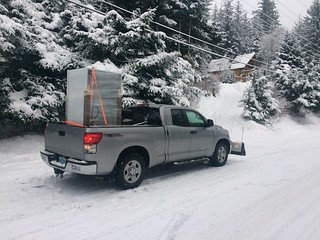 Our refrigerator went belly up, my Toyota did the delivery in crappy weather