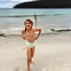 First swim of summer. Fortescue Bay.