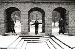 The Three (johnlishamer.com) Tags: 2016 35mm bataviail bette december foxriver jane lishamer nikonfa xmas amanda cloudy family film johnlishamercom portraits snow snowfall snowflakes