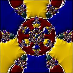 Swords and Jewels (Ross Hilbert) Tags: fractalsciencekit fractalgenerator fractalsoftware fractalapplication fractalart algorithmicart generativeart computerart mathart digitalart abstractart fractal chaos art hyperbolic escher mandala hyperbolictiling hyperbolicgeometry poincaredisk henripoincare circleinversion tiling orbittrap swords jewels
