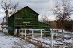 Rustic Green Barn (fotofish64) Tags: barn rustic fence woodenfence building architecture woodenstructure perspective rural serene farm color green white outdoor winter snow cold season duanesburg pattersonville schenectadycounty newyork capitaldistrict k70 sigma1750mmf28lens kmount pentax pentaxart mariaville dxoopticspro11