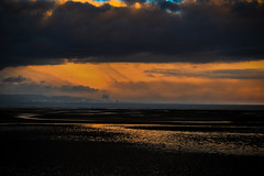 End of Day (Re-Edit) (JDWCurtis) Tags: swansea swanseabeach swanseabay beach southwales wales gower bay sundown sunset orange horizon sea seafront end endofday day reflection reflections clouds sun sunlight