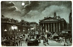 Royal exchange and Bank, London (1904) (The Wright Archive) Tags: royal exchange bank london postcard vintage night scene published by charles martin no1029 29 december 1904 england uk edwardian old photo history city sky moon 1900s
