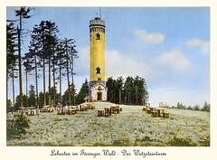 1936 Lehesten Wetzsteinturm farbig (zimmermann8821) Tags: architektur berge fotografie gebäude lehesten naturlandschaft postkarte aussichtsturm sehenswürdigkeiten sommer thüringen wald wanderungausflug bismarckturm