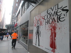 Resident Evil - Evil Comes Home Movie Poster 1171 (Brechtbug) Tags: resident evil comes home movie poster billboard sidewalk display destruction milla jovovich video game film nyc 02022017 new york city cinema marquee flickr motion december 2017 black white red graphic illustration scifi science fiction post apocalyptic future dystopia futuristic war zone female warrior amazon amazonian