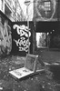 Precarious Perch (Georgie_grrl) Tags: graffiti streetart creative expression graffitialley pentaxk1000 rikenon12828mm toronto ontario blackandwhite monochrome jchstreetpan400