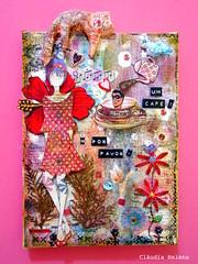 Fashion and cat (* Cludia Helena * brincadeira de papel *) Tags: brazil brasil mixedmedia quadro canvas papermache papiermach cludiahelena 16x22cm