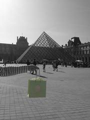 Breakfast in a green bag outside Louvre!