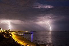 Bournemouth Lightning show (Nick L) Tags: sea storm beach night clouds canon eos pier sand isleofwight dorset 5d lightning lightshow bournemouth thunder tvtower 2470l bournemouthpier boscombepier forklightning poolebay eos5d3 eos5dmarkiii 5d3 eos5dmk3 canon5d3 2470li