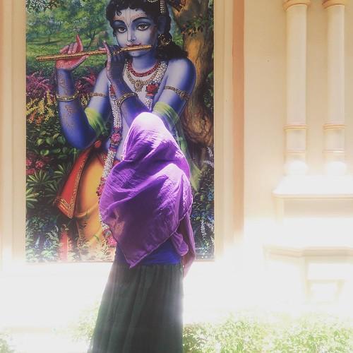 Devotee stands in front of Krishna #ISKCON #india #indiodyssey #krishna #vrindavan